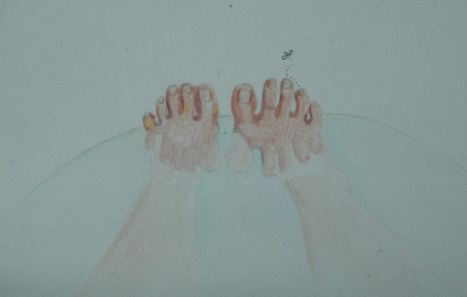 Toes turns into amoebic creatures in the bath tub.